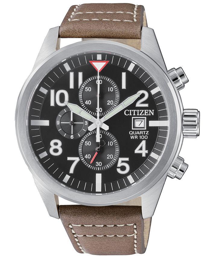 Citizen - Men's Chronograph Brown Leather Strap Watch 43mm