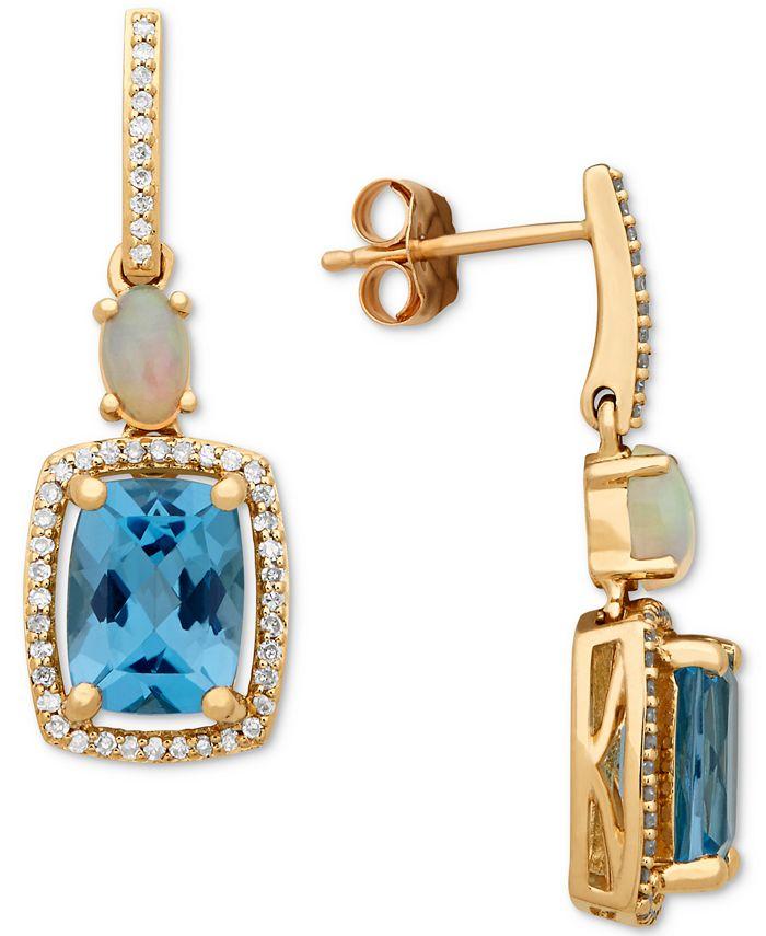 Macy's - Multi-Gemstone (3-3/4 ct. t.w.) & Diamond (1/5 ct. t.w.) Drop Earrings in 10k Gold