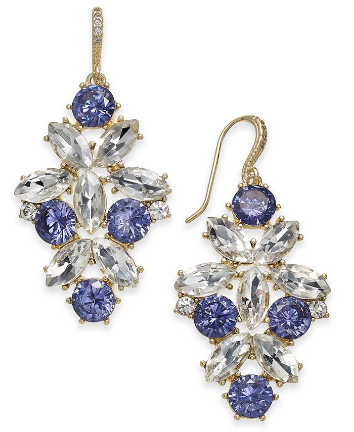 Charter Club - Gold-Tone Purple & Clear Crystal Drop Earrings