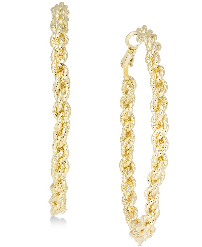 INC International Concepts - Gold-Tone Textured Braided Hoop Earrings