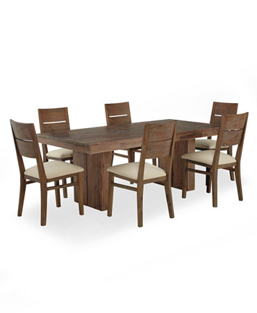 Champagne Dining Room Furniture 7 Piece Set Dining Table And 6 Side Chairs