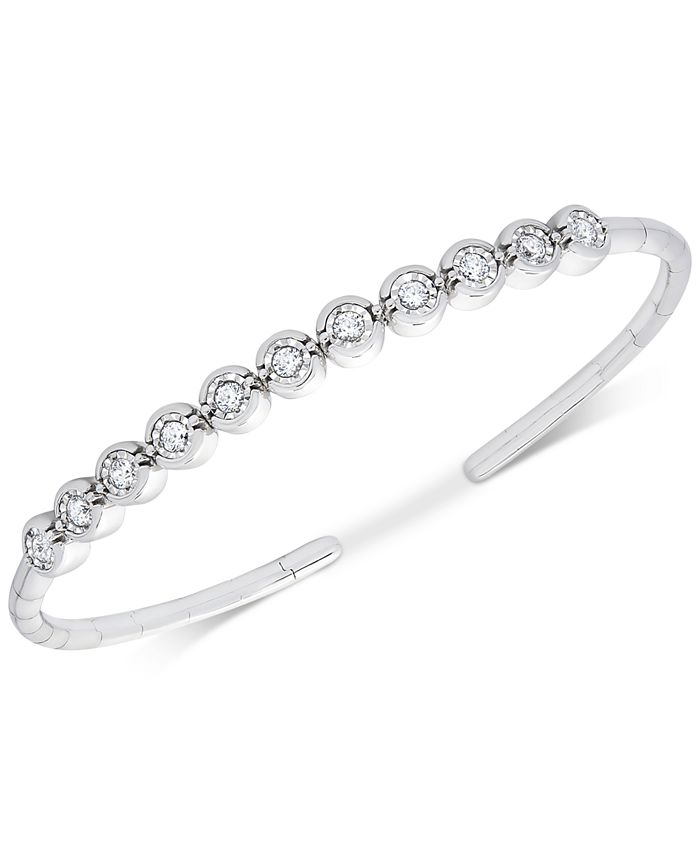 Wrapped - Diamond Bezel Bangle Bracelet (1/2 ct. t.w.) in Sterling Silver