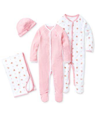 Ralph Lauren Baby Girls Reversible Bear Printed Blanket