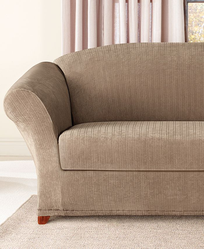 stretch pinstripe 2 piece sofa slipcover
