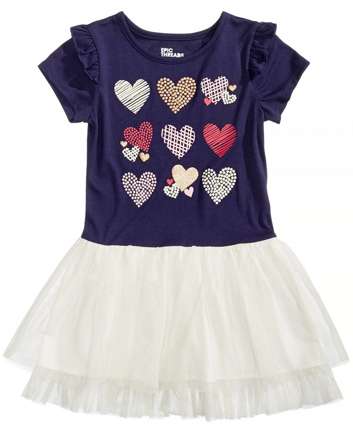 Epic Threads - Hearts Graphic-Print Popover Dress, Little Girls (2-6X)