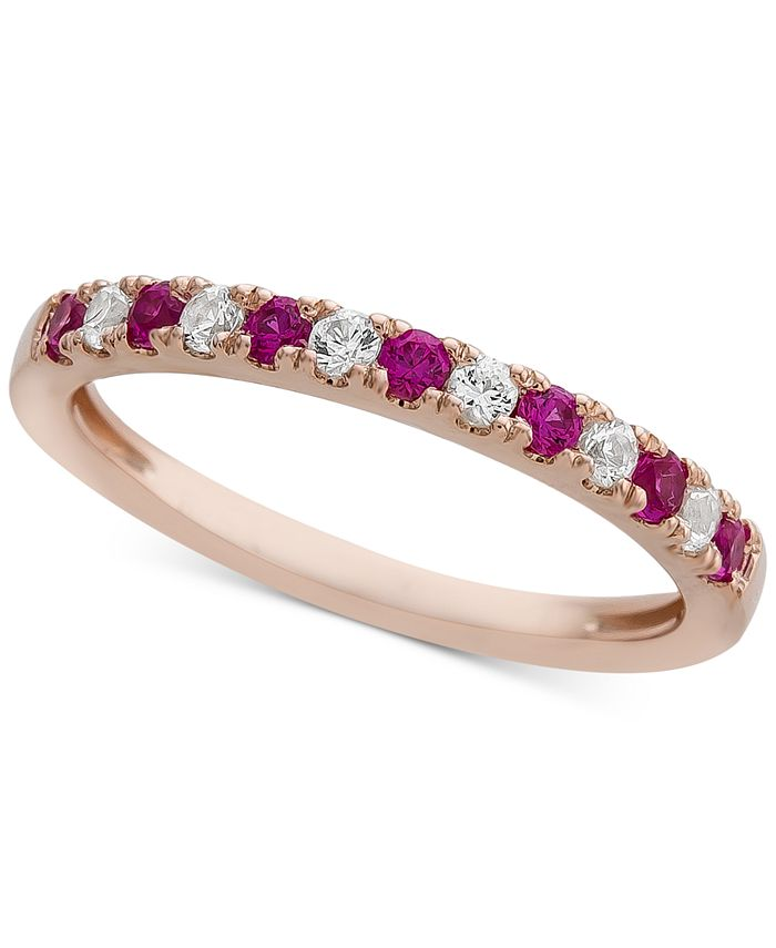 Macy's - Certified Ruby (1/4 ct. t.w.) & Diamond (1/6 ct. t.w.) Band in 14k Rose Gold