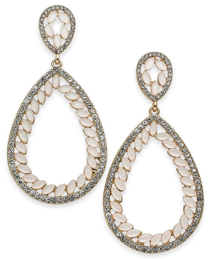 INC International Concepts - Concepts Gold-Tone Stone & Pavé Teardrop Drop Earrings
