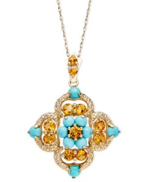 14k Gold Necklace, Turquoise (1-1/5 ct. t.w.) and Citrine (5/8 ct. t.w.) Pendant