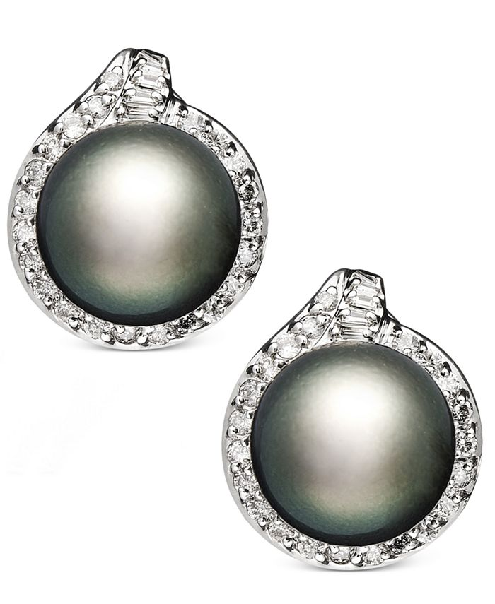 Macy's - 14k White Gold Earrings, Cultured Tahitian Pearl (11mm) and Diamond (3/4 ct. t.w.) Stud Earrings