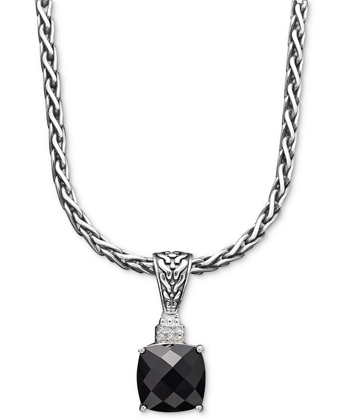 EFFY Collection - Onyx (5-1/5 ct. t.w.) and Diamond Accent Pendant in Sterling Silver