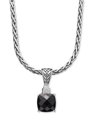 Effy Collection Sterling Silver Necklace, Onyx (5-1/5 ct. t.w.) and Diamond Accent Pendant