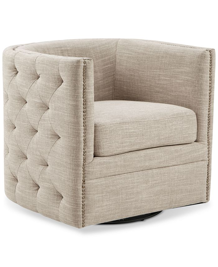 Furniture - Capstone Swivel Tufted Chair, Quick Ship
