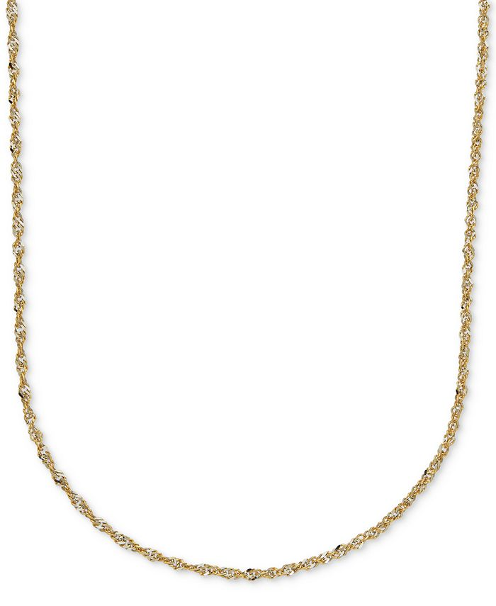 Italian Gold - Two-Tone Perfectina Chain Necklace in 14k Gold & Rhodium Plate
