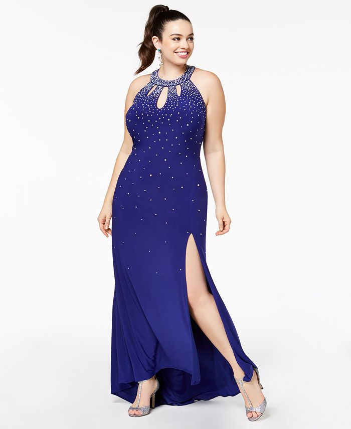 Morgan & Company - Trendy Plus Size Embellished Cutout Halter Gown