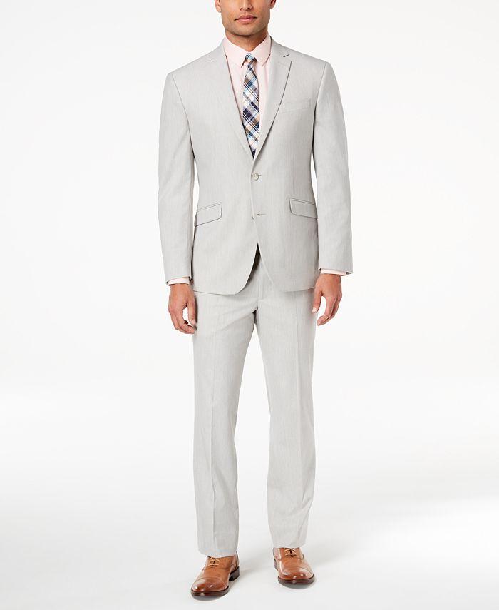 Kenneth Cole Reaction - Men's Techni-Cole Slim-Fit Stretch Light Gray Suit