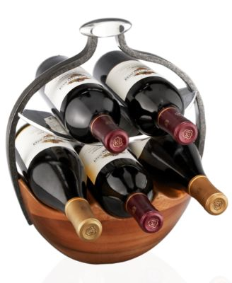 Nambe Anvil Wood Wine Basket