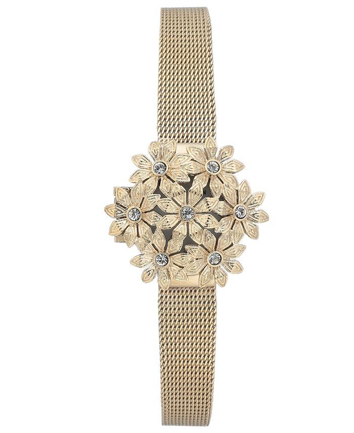 Anne Klein - Women's Gold-Tone Stainless Steel Mesh Bracelet Watch 24mm
