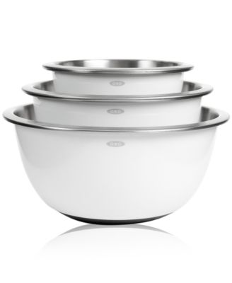 OXO Non-Skid Mixing Bowls Set of 3 White Stainless Steel