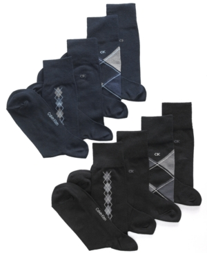 Calvin Klein Socks, 4 Pack Argyle and Solid