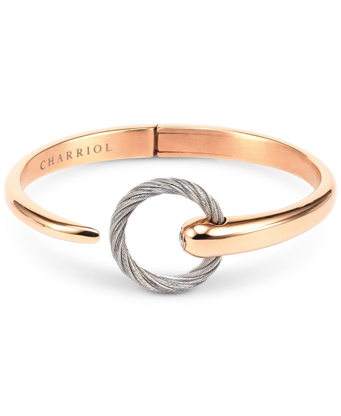 CHARRIOL - xWhite Topaz Two-Tone Bangle Bracelet (1/5 ct. t.w.) in Stainless Steel & 14k Rose Gold-Plated Stainless Steel PVD