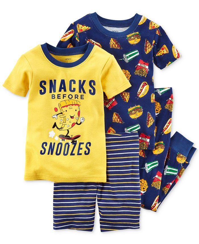 Carter's - 4-Pc. Snacks Before Snoozies Cotton Pajama Set, Toddler Boys (2T-5T)