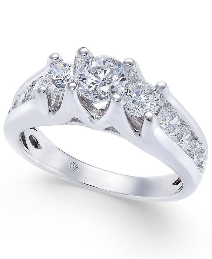 Macy's - Diamond Channel-Set Engagement Ring (1-1/2 ct. t.w.) in 14k White Gold