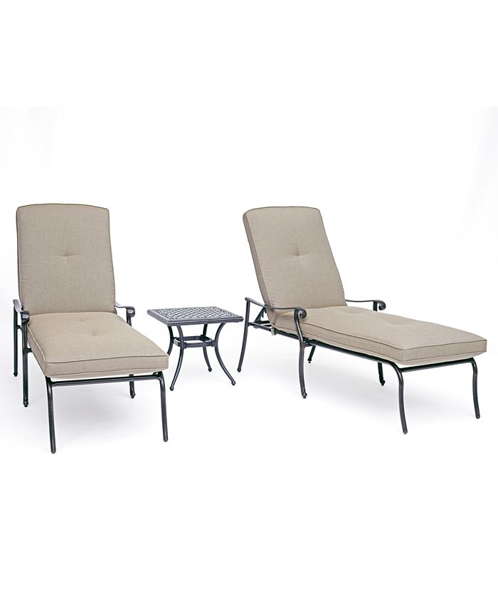 Furniture - Chateau Outdoor Aluminum 3-Pc. Chaise Set (2 Chaise Lounge & 1 End Table) with Sunbrella® Cushions