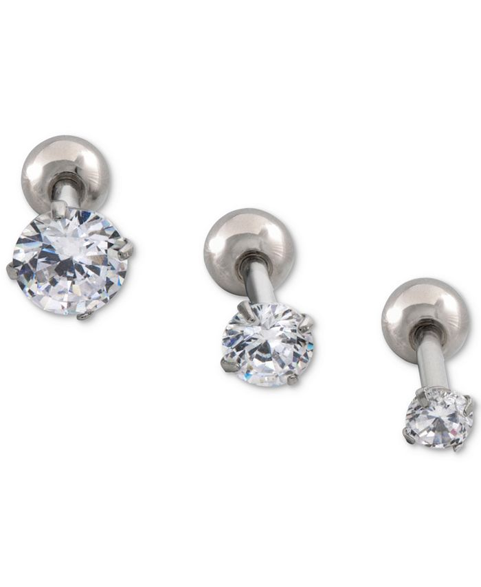 INC International Concepts - Stainless Steel 3-Pc. Set Multi-Size Cartilage Studs