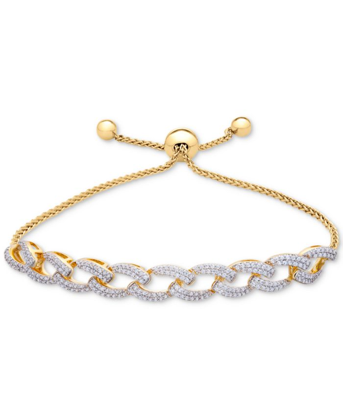 Wrapped in Love Diamond Link Bolo Bracelet (1 ct. t.w.) in 14k Gold-Plated Silver, Created for Macy's & Reviews - Bracelets - Jewelry & Watches - Macy's