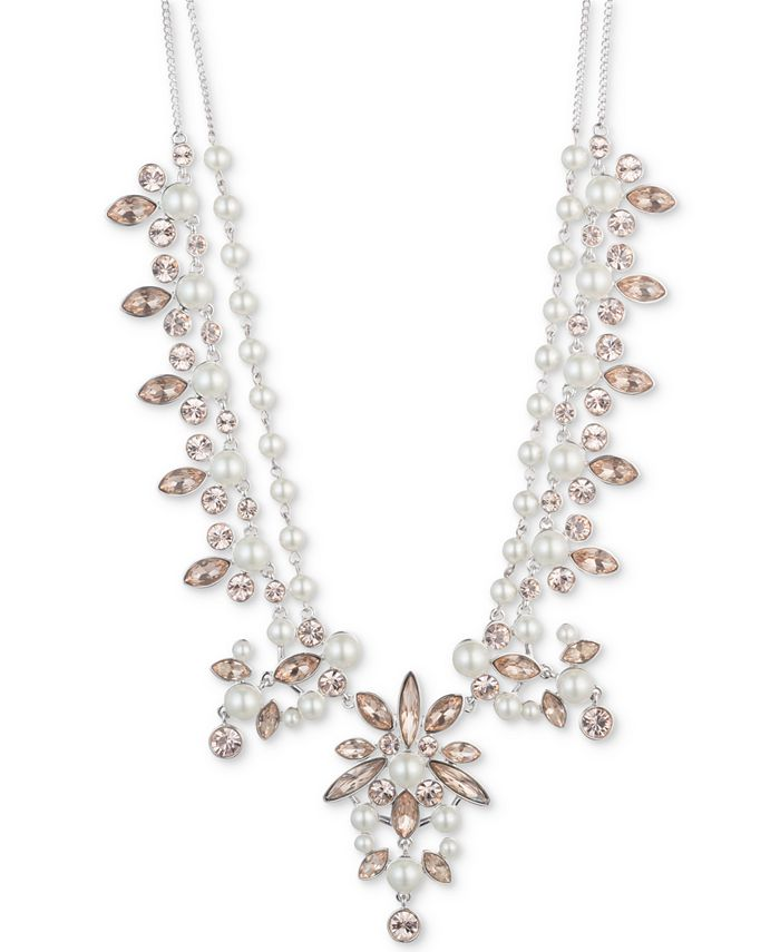"""Givenchy - Silver-Tone Crystal Statement Necklace, 16"""" + 3"""" extender"""