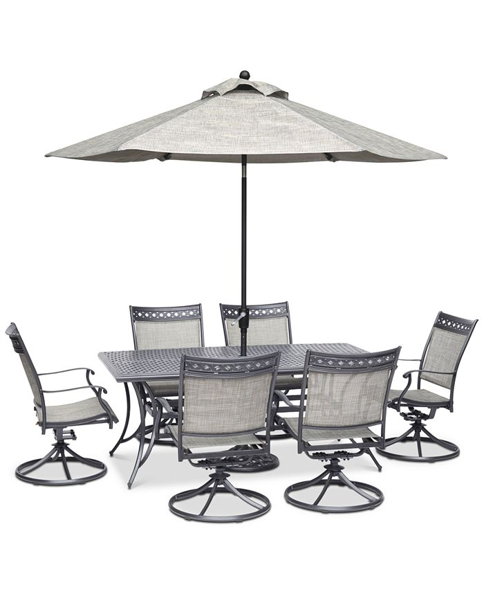 "Furniture - Vintage II Outdoor Aluminum 7-Pc. Dining Set (72"" x 38"" Dining Table & 6 Swivel Rockers)"