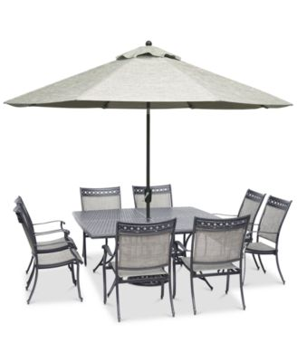 """Vintage II Outdoor Cast Aluminum 9-Pc. Dining Set (64"""" x 64"""" Table & 8 Sling Dining Chairs), Created for Macy's"""