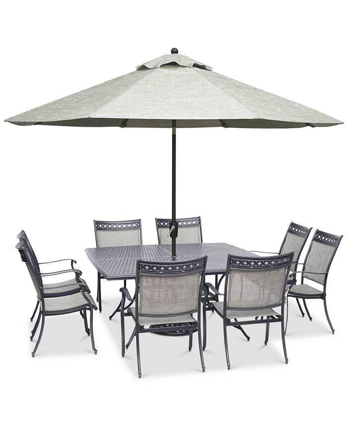 """Furniture - Vintage II Outdoor Cast Aluminum 9-Pc. Dining Set (64"""" x 64"""" Table & 8 Sling Dining Chairs), Created for Macy's"""