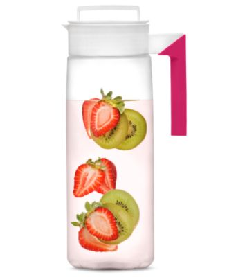 Takeya White and Raspberry Airtight Jug, 66 Oz.