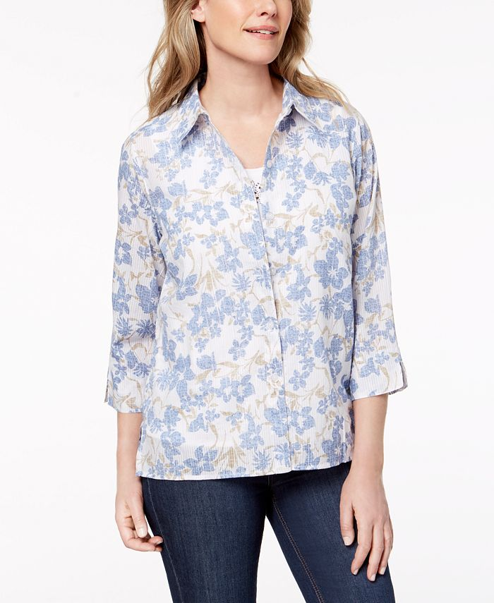 Alfred Dunner - Petite Layered-Look Floral-Print Top