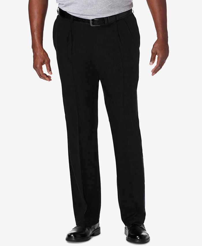 Haggar - Men's Big & Tall Cool 18 PRO Classic-Fit Stretch Pleated Dress Pants