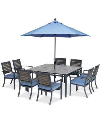 "Harlough II 9-Pc. Outdoor Dining Set (62"" Square Dining Table and 8 Dining Chairs) with Sunbrella® Cushions, Created for Macy's"