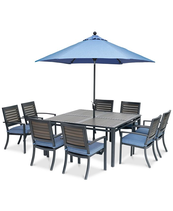 """Furniture - Harlough II Outdoor 9-Pc. Dining Set (62"""" Square Dining Table and 8 Dining Chairs) with Sunbrella® Cushions"""