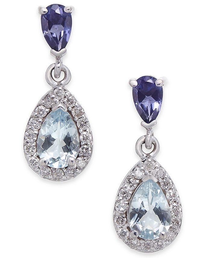 Macy's - Aquamarine, Iolite and Diamond (1-1/10 ct. t.w.) Drop Earrings in 14k White Gold