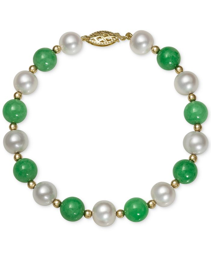 Macy's - 14k Gold Bracelet, Cultured Freshwater Pearl and Jade