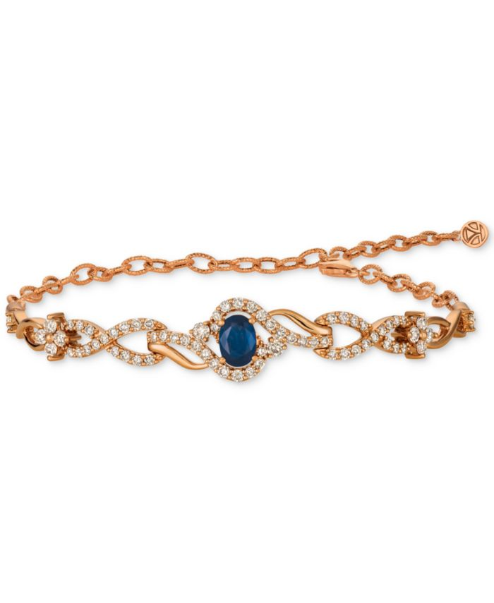 Le Vian Strawberry & Nude™ Blueberry Sapphire (3/4 ct. t.w.) & Diamond (1-1/2 ct. t.w.) Link Bracelet in 14k Rose Gold & Reviews - Bracelets - Jewelry & Watches - Macy's