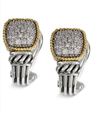 Balissima Effy Collection Diamond Earrings, 18k Gold and Sterling Silver Diamond Rectangle (1/3 ct. t.w.)