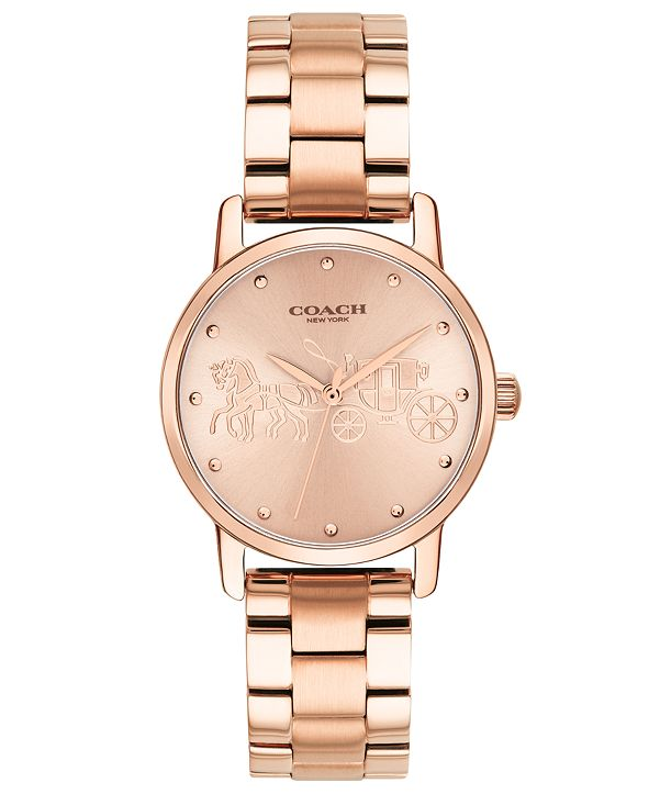 COACH Women's Grand Rose Gold-Tone Stainless Steel Bracelet Watch 28mm