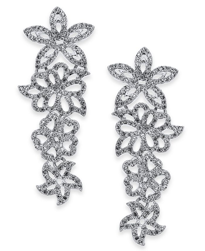 INC International Concepts - Silver-Tone Pavé Flower Statement Earrings