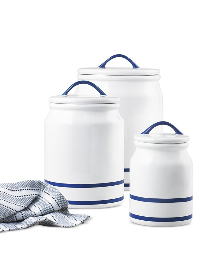 Martha Stewart Collection - Blue Rim Set of 3 Canisters, Created for Macy's