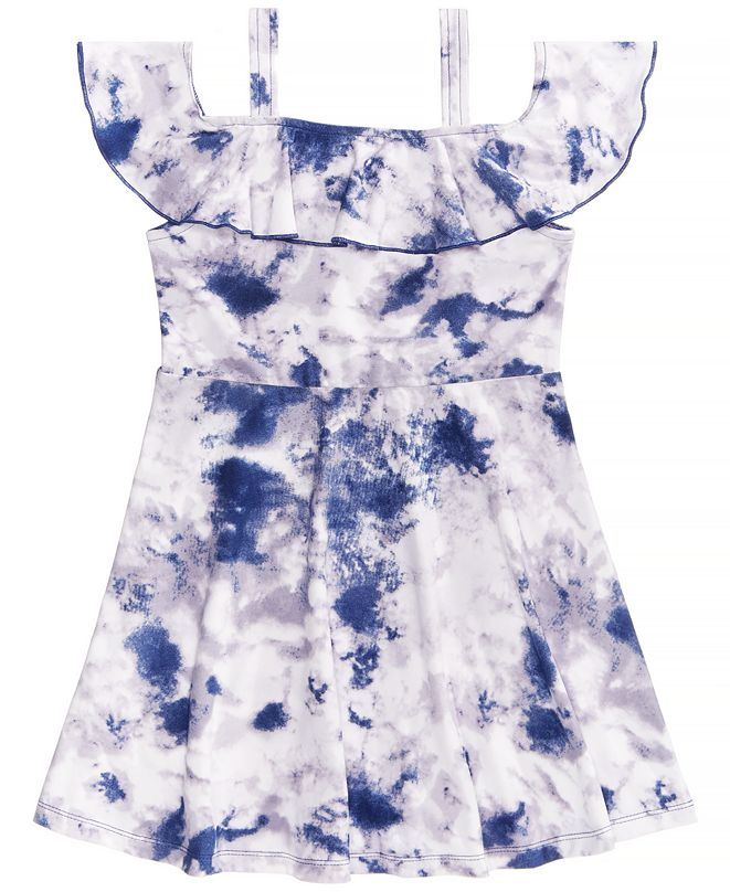 Epic Threads Tie-Dyed Cold Shoulder Dress, Little Girls, Created for Macy's