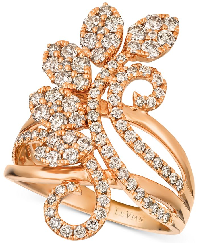 Le Vian - Diamond Flower Cluster Statement Ring (1-3/8 ct. t.w.) in 14k Rose Gold