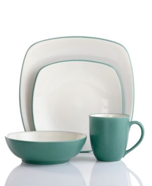 Noritake Dinnerware, Colorwave Turquoise Square 4 Piece Place Setting