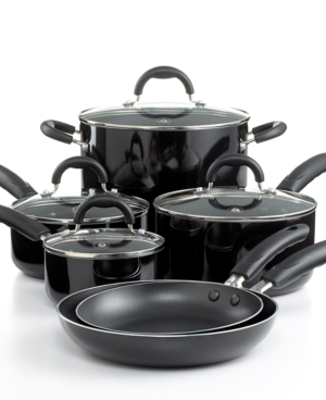 Martha Stewart Collection Nonstick Porcelain Enamel Cookware Set, 10 Piece Black