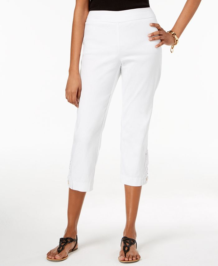 JM Collection - Crochet-Lace Appliqué Capri Pants, Created for Macy's